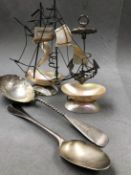 A SILVER BERRY SPOON MARKED TIFFANY & CO AND WITH MAKERS MARK J (STAR) P FOR JOHN POLHAMUS, TOGETHER