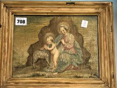 A PAIR OF PAINTED AND SILK THREAD PICTURES OF THE MADONNA, CHRIST CHILD AND PASCAL LAMB AND WITH TWO