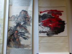 TWO CHINESE SCROLL PAINTINGS, ONE DEPICTING MOUNTAINS AND PINE TREES AT SUNSET. 96 x 52cms. THE