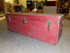 A LOUIS VUITTON RED REXINE COVERED SLOPE BACK CAR TRUNK, No. 207385, THE WHITE TEXTILE LINED