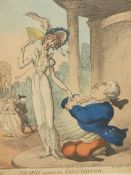 ANTIQUE HAND COLOURED PRINT AFTER THOMAS ROWLANDSON. 'DROPSY COURTING CONSUMPTION', 34 x 23cms.