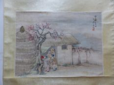 TWO CHINESE SCROLL PAINTINGS, ONE DEPICTING WOMEN IN AND ABOUT A PAVILION. 117 x 48cms. THE OTHER