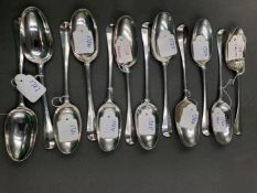 TWELVE GEORGIAN SILVER DESSERT SPOONS, DATED 1720 X 2, 1721, 1722,1723, 1724, 1725,1726,1727 X 2,