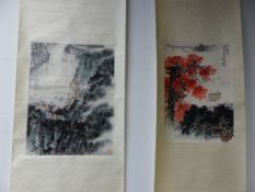 THREE CHINESE SCROLLS PRINTED WITH BOATS ON A RIVER. 59 x 40.5cms. A RIVER PORT VIEW FROM A