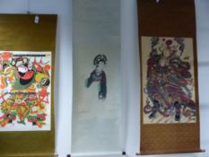 THREE CHINESE SCROLLS VARIOUSLY STENCILLED WITH A MAN WIELDING TWO SWORDS. 87.5 x 56.5cms. WITH A
