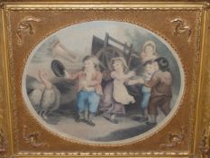 FOUR ANTIQUE HAND COLOURED PRINTS AFTER W. HAMILTON. EACH OF CHILDREN IN GILT FRAMES 35 x 43cms (