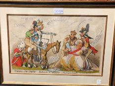 TWO JAMES GILLRAY CARTOONS REPRESENTING THE EARL OF MOIRA AS A MAN OF IMPORTANCE AND OF WILLIAM PITT