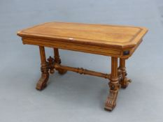 A GOTHIC REVIVAL BULLOCK STYLE OAK TABLE WITH AN EBONY KEY FRET BAND TO THE CANTED RECTANGULAR TOP