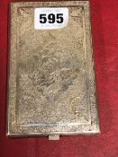 A PERSIAN WHITE METAL CIGARETTE CASE ENGRAVED CARPET DESIGNS TO INCLUDE ON ONE SIDE BIRDS AND
