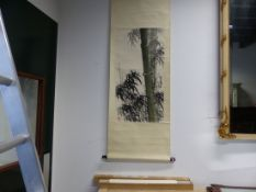 TWO CHINESE SCROLL PAINTINGS OF BAMBOO, ONE UNMOUNTED. 68.5 x 46cms. THE OTHER MOUNTED. 95 x 48.