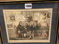 FOUR ANTIQUE SATIRICAL PRINTS FEATURING CHARLES JAMES FOX, JOHN HORNE-TOOKE, TWO PAIR OF