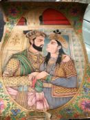 A WATERCOLOUR OVAL OF SHAH JAHAN AND MUMTAZ MAHAL EMBRACING WITHIN SPANDRELS OF FLOWERS ON A GOLD