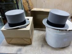 TWO GREY TOP HATS BY LOCK & CO AND BY HIILHOUSE, THE INTERNAL MEASUREMENTS 19.5 x 15.5cms.