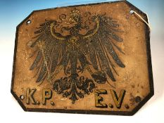 TWO ROYAL PRUSSIAN RAILWAYS CARRIAGE PLATES, EACH WITH THE CROWNED EAGLE ON A WHITE GROUND ABOVE