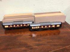 TWO BOXED DARSTAED 0 GAUGE QUEEN OF SCOTS KINGS CROSS TO GLASGOW CORRIDOR COACHES WITH GREY ROOVES