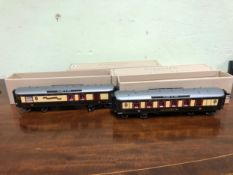 TWO BOXED DARSTAED 0 GAUGE QUEEN OF SCOTS LONDON TO GLASGOW CORRIDOR COACHES WITH GREY ROOVES