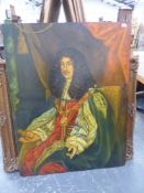 A DECORATIVE PORTRAIT OF AN ENTHRONED KING, OIL ON BOARD, UNFRAMED. 128 x 99cms.