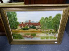 A DECORATIVE PAINTING OF A TIMBERED HOUSE BY A POND, TOGETHER WITH TWO FRAMED EXHIBITION POSTERS AND