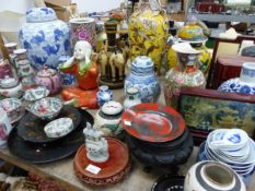 A QUANTITY OF VARIOUS ORIENTAL VASES, STAND, ORNAMENTS, ETC.