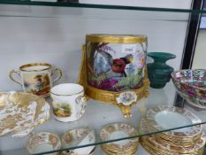 AN EARLY ENGLISH TWO HANDLED MUG, A PHEASANT DECORATED CROWN DERBY GILDED PLATE, AN ORIENTAL BOWL