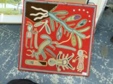 AN ABORIGINAL (?) EMBROIDERED PICTURE. LAID DOWN, EXTENSIVELY INSCRIBED VERSO, UNFRAMED. 60 x