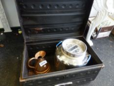 A TIN TRUNK TOGETHER WITH A COPPER JUG AND AN OLIVE OIL DISPENSER.