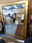 TWO GILT FRAME LARGE CONTEMPORARY MIRRORS. LARGEST 118 x 92cms (2).