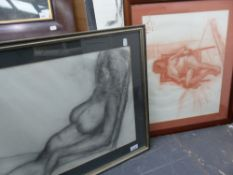 20th.C.BRITISH SCHOOL. TWO NUDE STUDIES, CHALK AND CHARCOAL, BOTH INSCRIBED. LARGEST 40 x 58cms (
