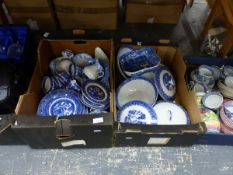 A COLLECTION OF VARIOUS BLUE AND WHITE DINNER WARES, GLASSES AND A CHINON HAND HELD CAMERA.