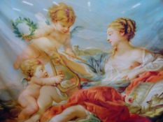 A LARGE DECORATIVE CLASSICAL SCENE WALL HANGING.