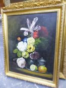 W.A.P. KINGWELL (20th.C.SCHOOL). ARR. STILL LIFE OF SUMMER FLOWERS, SIGNED, OIL ON CANVAS. 61 x