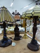 TWO ART NOUVEAU STYLE TABLE LAMPS, A BRASS AND GLASS HUNG EXAMPLE, AND ONE OTHER.