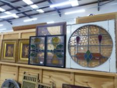 THREE VINTAGE STAINED GLASS PANELS. TOGETHER WITH TWO MARQUETRY INLAID PANELS, DECORATIVE