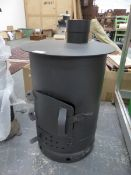 AN IRON SOLID FUEL ROOM HEATER.