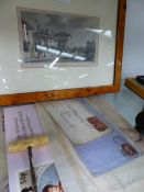 THREE PENNY REDS ON ENVELOPES, PRINTED ROYAL COMMEMORATIVES AND A PRINT OF REGENTS PARK.