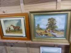 AFTER ABRAHAM COOPER. A COLOUR PRINT OF A HORSE IN A MAPLE FRAME, TOGETHER WITH A HARVEST SCENE