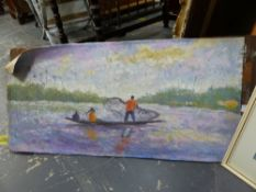 20th.C. COLONIAL SCHOOL. FISHERMEN, SIGNED INDISTINCTLY, OIL ON CANVAS LAID DOWN, UNFRAMED. 39 x