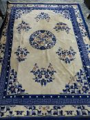 AN ANTIQUE HAND WOVEN CHINESE CARPET
