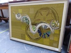 A FRAMED TEXTILE PANEL OF ABSTRACT FORMS, 65 x 94cms, TOGETHER WITH VARIOUS DECORATIVE PHOTOS AND