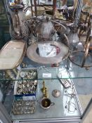 AN ELECTROPLATED BRITANNIA METAL 4 PIECE TEA SET, MISCELLANEOUS PLATE AND CUTLERY.