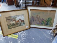 19th.C. ENGLISH SCHOOL. THREE HORSES BY A STABLE, WATERCOLOUR, 17 x 24cms, TOGETHER WITH A RURAL