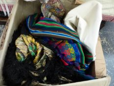 A BOX OF VARIOUS TEXTILES, HANGINGS, THROWS AND TABLE LINEN.