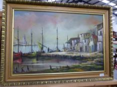 A LARGE CONTINENTAL OIL PAINTING FISHING BOATS.