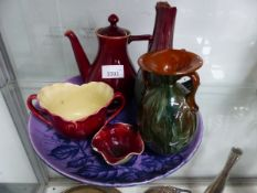 A COLLECTION OF SIX LINTHORPE POTTERY WARES, THE COFFEE POT, A TWO HANDLED BOWL AND SPICE BOWL