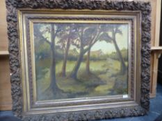 EARLY 20th.C. CONTINENTAL SCHOOL. A RURAL VILLAGE IN WOODLAND, INDISTINCTLY SIGNED, OIL ON CANVAS.