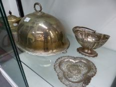 A HALLMARKED SILVER REGENCY STYLE TEAPOT, PLATED MEAT COVER A, SWING HANDLED BASKET, AND EASTERN