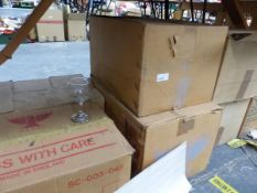 A LARGE COLLECTION OF BOXED GLASS WINE GOBLETS.