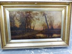 FOUR 19th/20th.C. ENGLISH SCHOOL LANDSCAPE PAINTINGS, TOGETHER WITH A WATERCOLOUR, ALL BY
