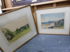 EARLY 20th.C.ENGLISH SCHOOL. A RIVER VIEW INDISTINCTLY SIGNED AND INSCRIBED. 26 x 35cms TOGETHER