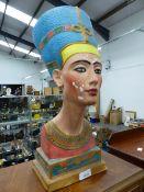 A DECORATIVE EGYPTIAN PHARAOH BUST.